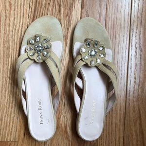 Taryn Rose Imogene Jewel Detail Suede Thong Sandal